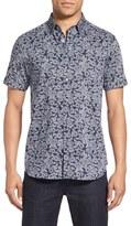 Ted Baker Men's 'Bordeaux' Modern Trim Fit Floral Print Short Sleeve Sport Shirt