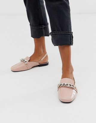 Asos DESIGN Made chain detail square toe loafers in pink