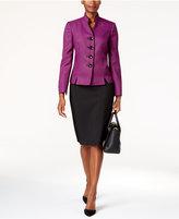 Le Suit Colorblocked Four-Button Skirt Suit