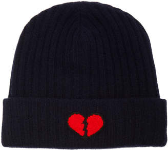 The Elder Statesman Summer Embroidered Ribbed Cashmere Beanie