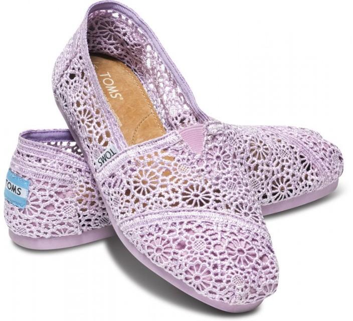 Toms Lilac snow crochet women's classics