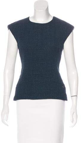 Chanel Tweed Cap Sleeve Top