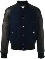 Ami Alexandre Mattiussi leather sleeve bomber jacket - men - Leather/Acetate/Wool - S
