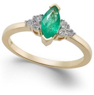 Macy's Emerald (5/8 ct. t.w.) & Diamond (1/8 ct. t.w.) Ring in 14k Gold