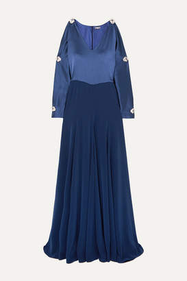 Alexis Mabille Embellished Cold-shoulder Satin Gown - Navy