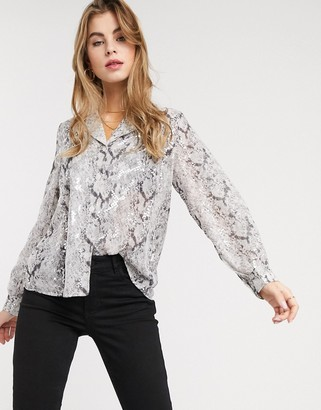 Outrageous Fortune sheer blouse in silver snake print
