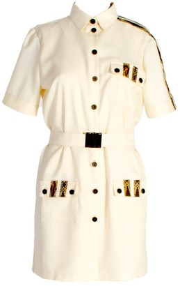 Short Sleeve Button Up Shirt Dress With Pockets White
