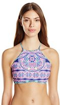 Jessica Simpson Women's Mojave High Neck Halter with Removable Soft Cups Bikini Top