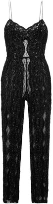 Saint Laurent Embellished Tulle-paneled Lace Jumpsuit