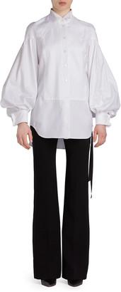UNTTLD Blouson-Sleeve Cotton Tuxedo Shirt