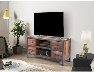 Crawford And Burke Blythe Urban Reclaimed Solid Wood and Metal 4 Drawer TV Media Console - 54 W x 18 D x 28 H