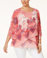 JM Collection Plus Size Printed Crisscross-Hem Top, Only at Macy's