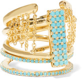 Noir Set of three gold-tone turquoise rings