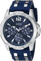 GUESS GUESS? Men's U0366G2 Iconic Multi-Function Silver-Tone Watch with Blue Silicone Strap