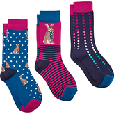 Joules Brilliant Bamboo Rabbit Ankle Socks, Pack of 3, Multi