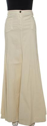 Just Cavalli Cream Denim Flared Maxi Skirt M