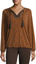 MICHAEL Michael Kors Tassel-Embellished Peasant Top, Gold Flame