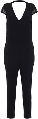 BA&SH Bonbon Cropped Macrame-trimmed Crepe Jumpsuit