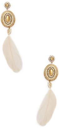 Deepa Gurnani Beaded & Feather Statement Earrings