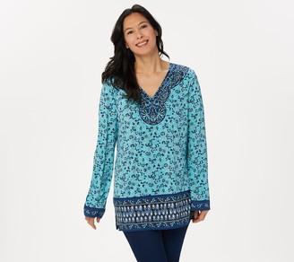 Belle By Kim Gravel Floral Boho Print Knit Top