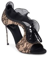 Rene Caovilla Lace and Ruffle Trimmed Sandals