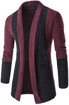 Whatlees Mens Hipster Solid Longline Cardigan Coat -S
