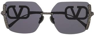 Valentino Crystal Studded Square Sunglasses