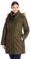 Larry Levine Women's Plus-Size Mid-Length Coat with Faux Fur-Trim Hood