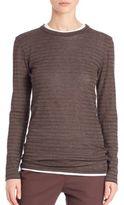 Brunello Cucinelli Wool & Lurex Striped Pullover
