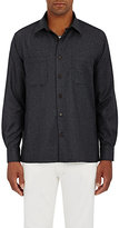Luciano Barbera Men's Wool Button-Front Shirt-DARK GREY