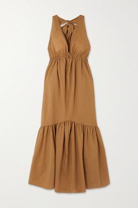 Marysia Swim Seashell Cotton-seersucker Halterneck Midi Dress - Tan