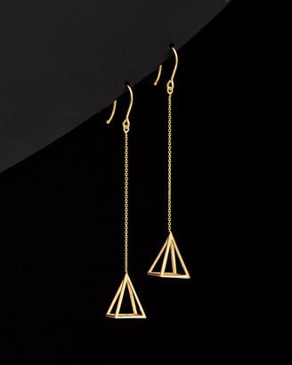 Italian Gold 14K 3D Triangle Drop Earrings