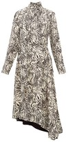 Proenza Schouler Backless Zebra-print Crepe Midi Dress - Womens - Ivory Multi