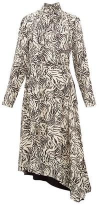Proenza Schouler Backless Zebra-print Crepe Midi Dress - Ivory Multi