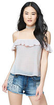 Aeropostale Womens Prince & Fox Ruffled Cold Shoulder Top
