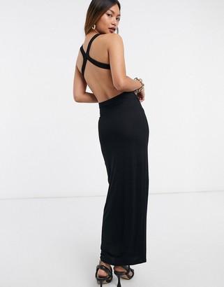 ASOS DESIGN racer neck ruched strappy back midaxi dress in black