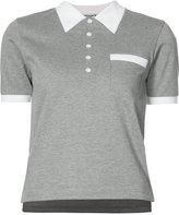 Thom Browne collar print polo shirt - women - Cotton - 38