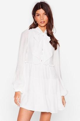 Nasty Gal Womens Got It on Texture Pussybow Mini Dress - White