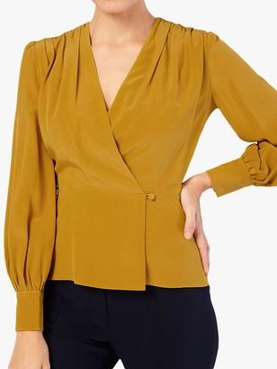 The Fold Montmartre Silk Wrap Blouse, Yellow
