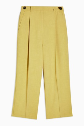Topshop Womens Petite Lime Green Tab Waist Straight Trousers - Lime