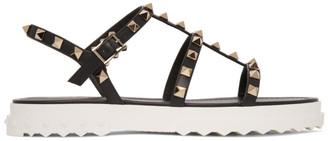 Valentino Black Garavani Rockstud Flat Sandals