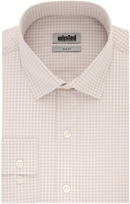 Kenneth Cole Reaction Men's Slim Fit Check Spread Collar Dress Shirt