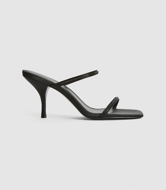 Reiss Magda Crystal - Embellished Strappy Heeled Sandals in Black
