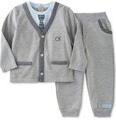 Calvin Klein Baby Boys' 2-Pc. Layered-Look Cardigan & Jogger Pants Set