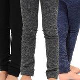 TeeHee Kids Girls Fleece Inner Brushed Thermal Leggings 3 Pack (, Grey+Navy+Black)