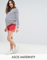 Asos Denim Side Split Shorts In Red