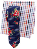 Original Penguin Floral Dot Tie & Plaid Pocket Square Boxed Set