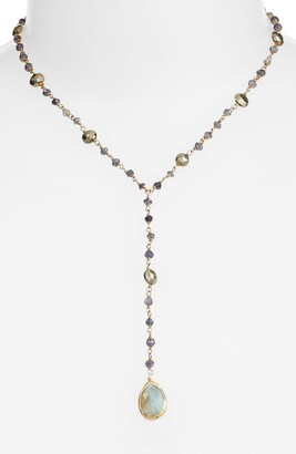 ela rae Yaeli Midi Satellite Semiprecious Stone Y-Necklace