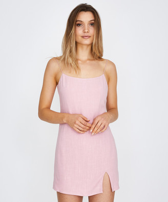 Alice In The Eve Bias Cut Linen Slip Dress Rose