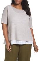 Eileen Fisher Plus Size Women's Organic Linen Stripe Sweater